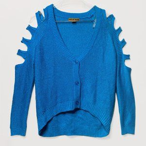 Cerulean Blue Slit Knit Cardigan by Love by Design
